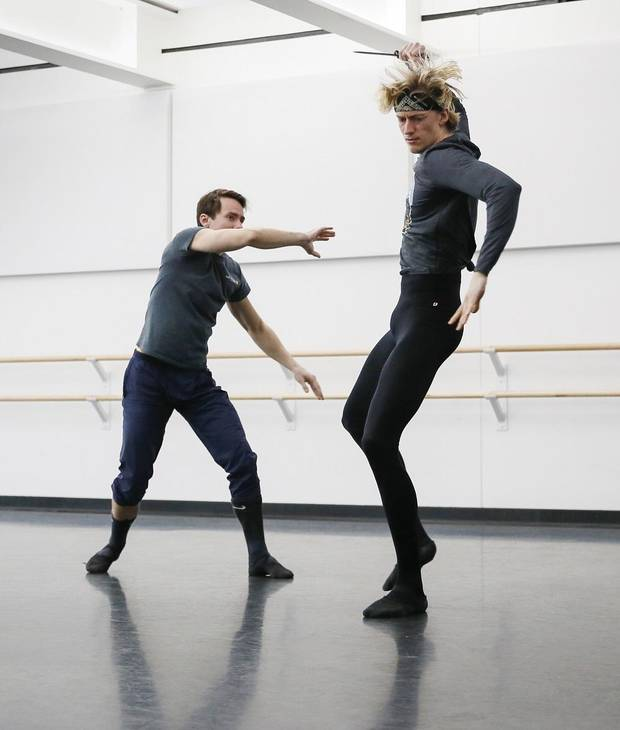 "Principal dancer Alvin Tovstogray, left, and Erik Thordal-Christensen, a member of the corps de ballet, rehearse for ""Romeo & Juliet"" at the Oklahoma City Ballet's Susan E. Brackett Dance Center in Oklahoma City, Thursday, Jan. 30, 2020. [Nate Billings/The Oklahoman]"