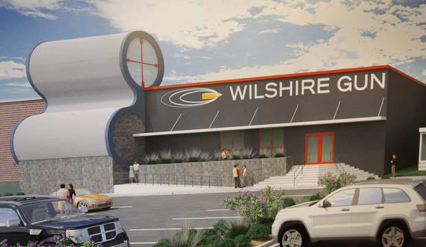 photo -  An artist rendering of Wilshire Gun under construction in the 600 block of W Wilshire Blvd. in Oklahoma City. The shooting ranges will be in a building that once served as a grocer's warehouse. Photos by Paul B. Southerland, The Oklahoman   PAUL B. SOUTHERLAND -  PAUL B. SOUTHERLAND
