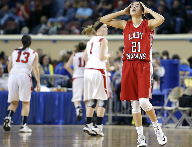photo - during the Class B Girls semifinal game of the state high school basketball tournament between Erick and Shattuck  at the State Fair Arena., Friday, March 1, 2013. Photo by Sarah Phipps, The Oklahoman