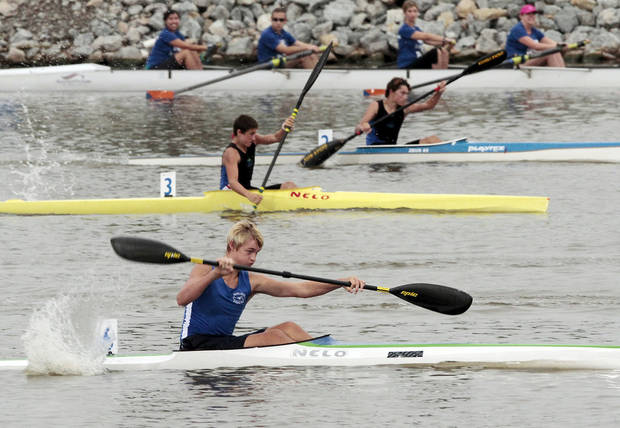 photo - Arne Landboe, front, Seatle Washington, competes in a heat race of the Junior Men's kayak  at the 2012 Oklahoma Regatta Festival on Friday, Sept. 28, 2012 in Oklahoma City, Okla.  Photo by Steve Sisney, The Oklahoman