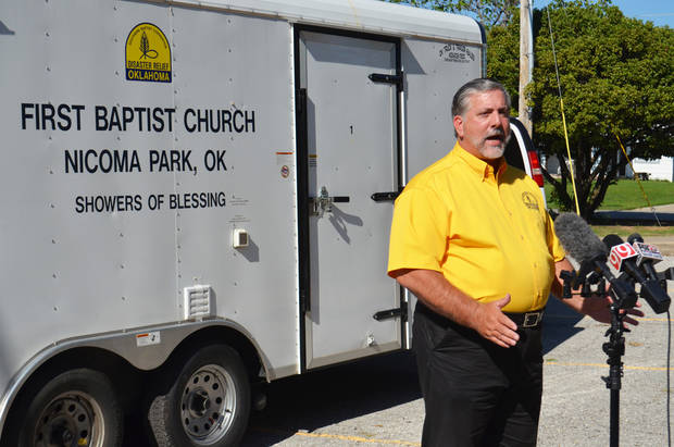 Oklahoma Baptist Disaster Relief Director Don Williams talks during a news conference on Monday in the Oklahoma City metro area. [Photo provided]