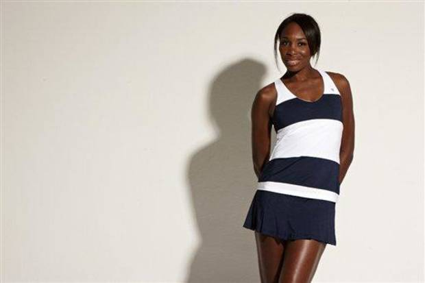 photo - This undated image released by EleVen By Venus Williams shows professional tennis player and fashion designer Venus Williams wearing a Blue Slice Tank from the EleVen By Venus Williams Summer 2013 collection available April 15 at select retailers, Country Clubs and Boutique tennis shops. (AP Photo/EleVen By Venus Williams)