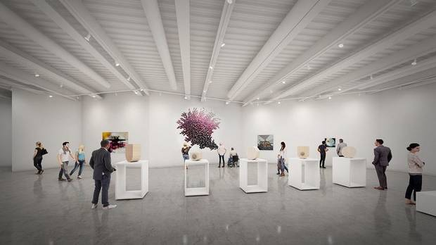 "Oklahoma Contemporary Arts Center is planning to open its new downtown home in March 2020. Both the new building and the inaugural exhibition were inspired by the ever-changing light across Oklahoma's sky. The inaugural exhibition is titled ""Bright Golden Haze,"" taken from the first line in Rodgers and Hammerstein's iconic musical Oklahoma!"" [Rendering by Skyline Ink]"