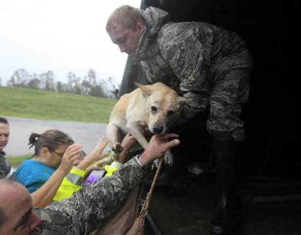 photo - People and a dog who were rescued from their flooded homes are loaded into a Louisiana National Guard truck, after Hurricane Isaac made landfall and flooded homes with 10 feet of water in Braithwaite, La., in Plaquemines Parish Wednesday, Aug. 29, 2012. (AP Photo/Gerald Herbert)