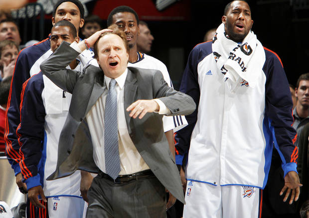 photo - Thunder coach Scott Brooks reacts to a call against the Thunder late in a 99-96 loss to the Spurs at the Ford Center.  Photo by Chris Landsberger, The Oklahoman