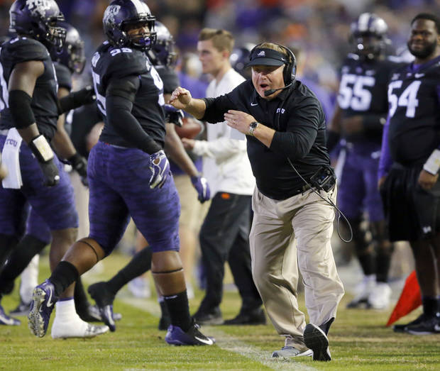 TCU head coach Gary Patterson yells at one of his players during the second quarter of an NCAA college football game against Oklahoma State in Fort Worth, Texas, Saturday, Nov. 24, 2018. (Tom Fox/The Dallas Morning News via AP)