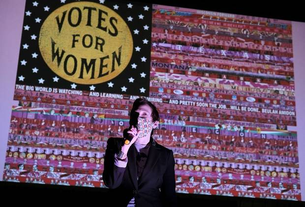 "Marilyn Artus thanks the crowd before the premiere of the short documentary ""Her Flag,"" chronicling the three-year collaborative art project Artus spearheaded, at the Scissortail Park Love's Travel Stops Stage and Great Lawn Saturday, October 3, 2020. [Doug Hoke/The Oklahoman]"