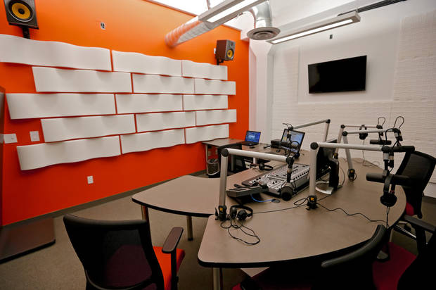 The new studio for KOSU public radio station located in the renovated Hart Building on historic Film Row is seen Friday in downtown Oklahoma City. Photo by Chris Landsberger, The Oklahoman