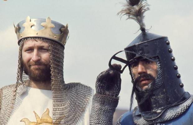 "photo - This screen shot from the newly released iPad app ""Monty Python: The Holy Book of Days"" depicts a photo from the filming of the 1975 movie, ""Monty Python and the Holy Grail."""