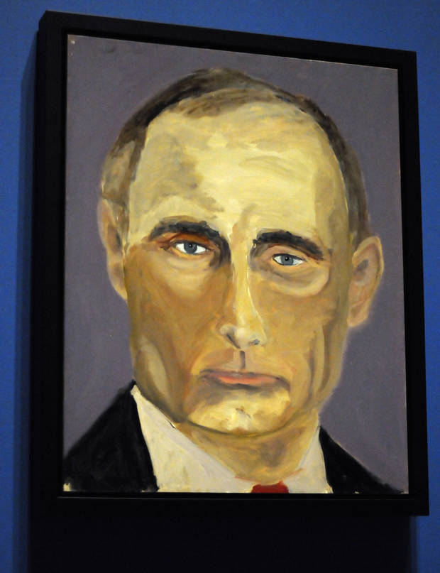"photo - A portrait of Russian President Vladimir Putin which is part of the exhibit ""The Art of Leadership: A President's  Diplomacy,"" is on display at the George W. Bush Presidential Library and Museum in Dallas, Friday, April 4, 2014. The exhibit of portraits of world leaders painted by former President George W. Bush opens Saturday and runs through June 3.  (AP Photo/Benny Snyder)"