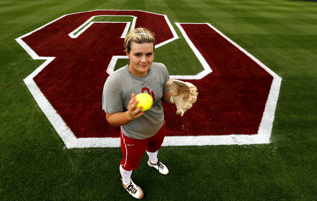 photo - University of Oklahoma (OU) softball team pitcher/infielder Georgia Casey poses for photographs on Tuesday, April 9, 2013 in Norman, Okla.  Photo by Steve Sisney, The Oklahoman
