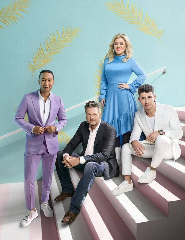 """The Voice"" Season 18 coaching panel is, from left, John Legend, Blake Shelton, Kelly Clarkson and first-time coach Nick Jonas. [Photo by Art Streiber/NBC]"