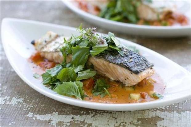 photo - In this image taken on July 30, 2012, Gazpacho Salmon is shown in Concord, N.H. (AP Photo/Matthew Mead)
