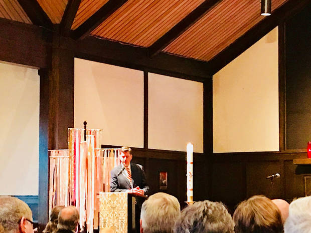 "David Holt, mayor-elect of Oklahoma City, shares remarks at ""A Prayer for our City"" on Sunday at St. Augustine of Canterbury Episcopal Church. [Photo by Carla Hinton, The Oklahoman]"