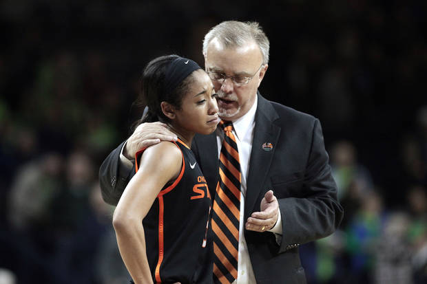 photo - Oklahoma State head coach Jim Littell  talks with guard Tiffany Bias (3) after losing to Notre Dame 89-72 in a regional semifinal at the NCAA college basketball tournament at the Purcell Pavilion in South Bend, Ind., Saturday, March 29, 2014. (AP Photo/Paul Sancya)