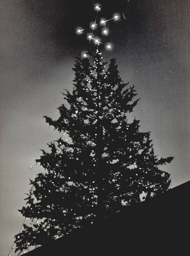 The newly constructed Myriad Convention Center is topped off with a Christmas tree in 1970. [Photo by Bob Albright, The Oklahoman Archives]