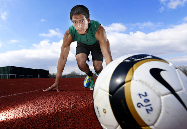 photo - Edmond Santa Fe soccer player and track runner Matthew Giudice poses for a new photo at Edmond Santa Fe  in Edmond, Okla., Tuesday, April 2, 2013. Photo by Sarah Phipps, The Oklahoman