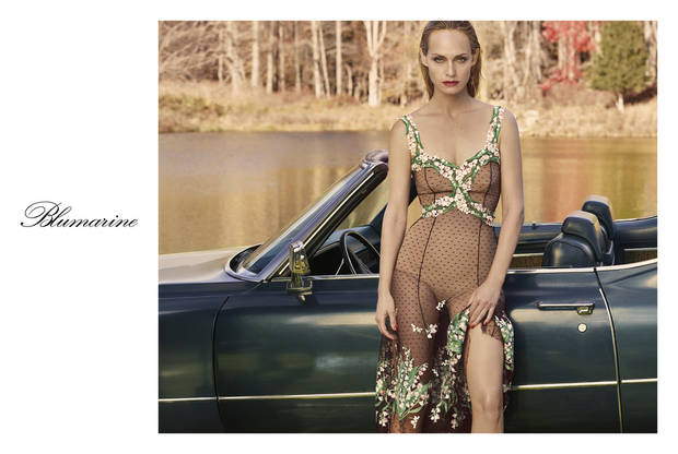 Amber Valletta in the Blumarine advertising campaign for spring.