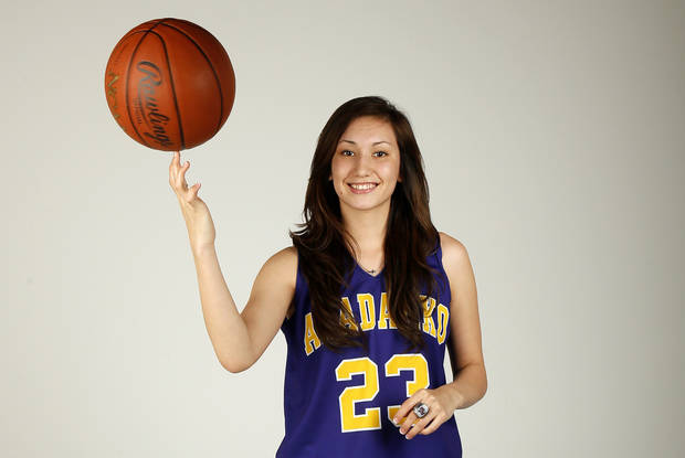 photo - Lakota Beatty, Anadarko High School basketball player and member of the Girls Super 5, poses for a photo at the OPUBCO studio in Oklahoma City, Wednesday, April 10, 2013. Photo by Nate Billings, The Oklahoman