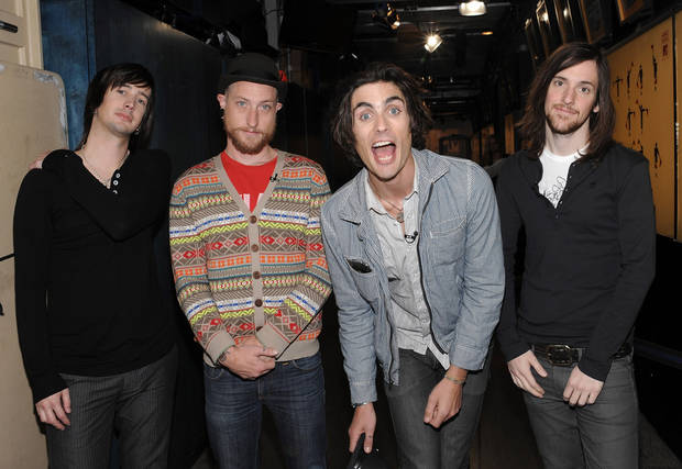 "photo - he All-American Rejects, from left, Nick Wheeler, Chris Gaylor, Tyson Ritter and Mike Kennerty make an appearance on the last regular MTV ""Total Request Live ""taping at MTV Studios on Wednesday, Nov. 12, 2008, in New York. The program will air on Thursday, Nov. 13. (AP Photo/Evan Agostini)"