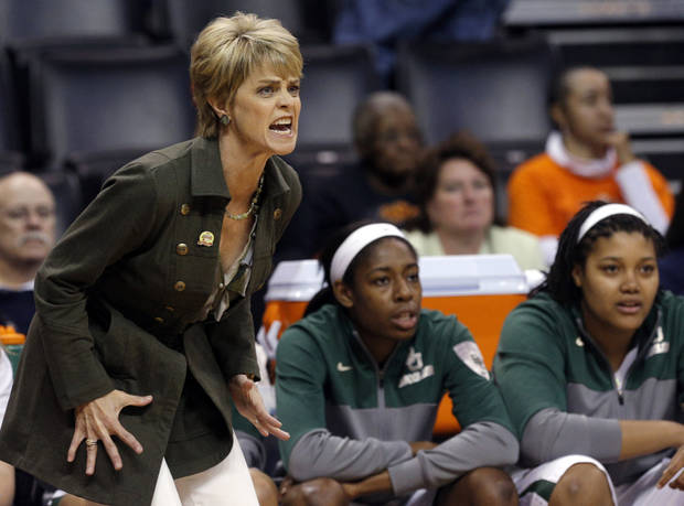 photo - Baylor coach Kim Mulkey reacts to a call during the Women's Big 12 basketball tournament game between Baylor and Kansas at  Chesapeake Energy Arena  in Oklahoma City, Okla., Saturday, March 8, 2014. Photo by Sarah Phipps, The Oklahoman