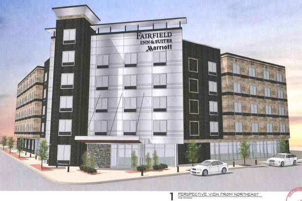 A revised design for a Fairfield Inn & Suites, shown in this rendering, was submitted this week to the city's planning department.