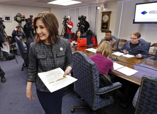 Oklahoma's State Superintendent of Public Instruction Joy Hofmeister holds a news conference on Monday, Jan. 22, 2018 in Oklahoma City, Okla. The extensive survey addresses reasons why certified teachers have left the field. Photo by Steve Sisney, The Oklahoman
