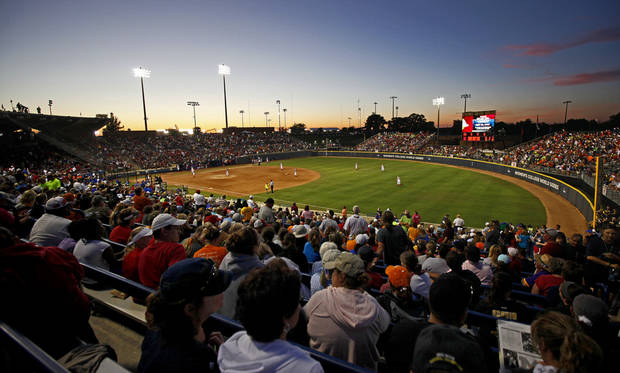 photo - A crowd fills ASA Hall of Fame Stadium during the Women's College World Series softball game between Nebraska and Florida in Oklahoma City, Saturday, June, 1, 2013. Photo by Bryan Terry, The Oklahoman