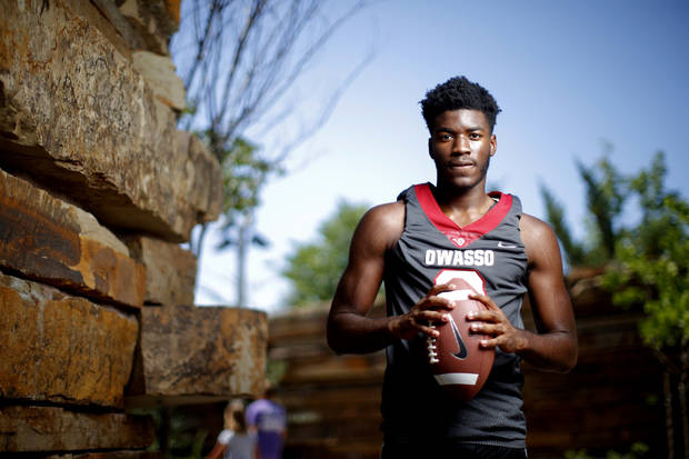 Owasso's Duece Mayberry poses for a photo for The Oklahoman's Super 30 high school football player series at The Gathering Place in Tulsa, Okla., Thursday, June 20, 2019. [Bryan Terry/The Oklahoman]