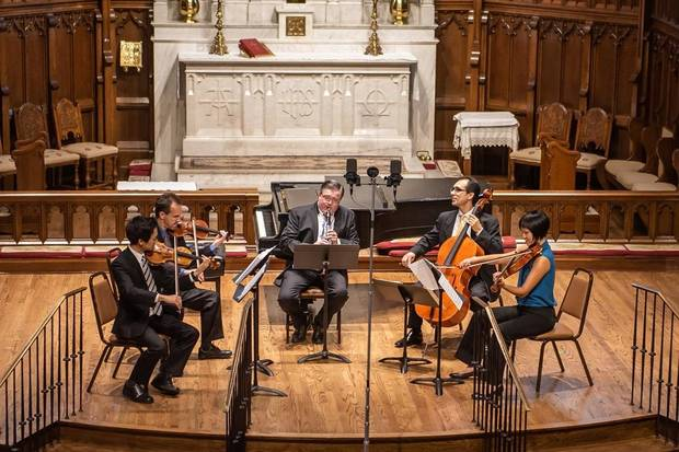 From left, Gregory Lee, Samuel Formicola, Chad Burrow, Jesus Castro-Balbi and Jarita Ng perform during Brightmusic Chamber Ensemble's 2018 Summer Chamber Music Festival. [Photo provided]