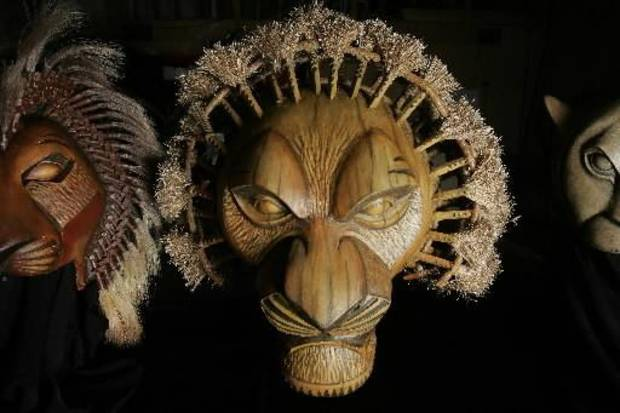 photo - Mufasa mask for the Lion King production Friday, April 24, 2009 at the Civic Center in OKC. Photo by Jaconna Aguirre