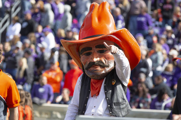 Pistol Pete made the trip to Manhattan, Kansas, on Saturday for Oklahoma State's game. [PHOTO BY BRUCE WATERFIELD, Courtesy OSU Athletics]