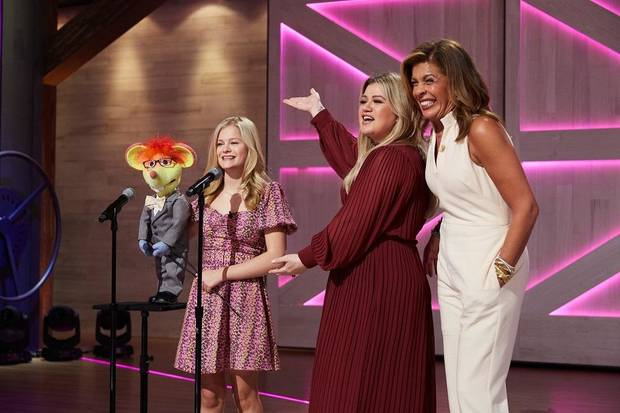 "From left, Darci Lynne Farmer, Kelly Clarkson and Hoda Kotb appear on Thursday's episode of ""The Kelly Clarkson Show."" [Photo by Adam Christopher/NBCUniversal]"
