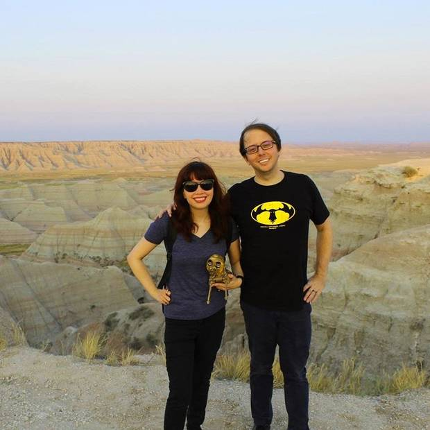 "Singer, producer and musician Barb Vest and former Starlight Mints frontman Allan Vest — the Oklahoma City husband-and-wife team that make up the indie rock act doubleVee — hold their art toy ""That's Neither Here Nor There"" during a visit to Badlands National Park in South Dakota. OKC artist Allin KHG created the art toy, which inspired to the couple to work with him on the doubleVee music video ""What You Deserve."" Photo provided"