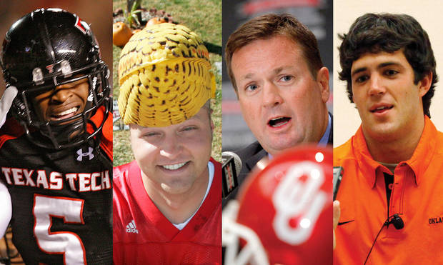 photo - From left to right: Texas Tech's uniforms were voted as the best Big 12 uniforms by players; Nebraska fans were the choice as best fans; Bob Stoops was chosen as the coach most players wanted to play for; Zac Robinson was the third choice as quarterback players would like to play with. Associated Press and Oklahoman Archive photos