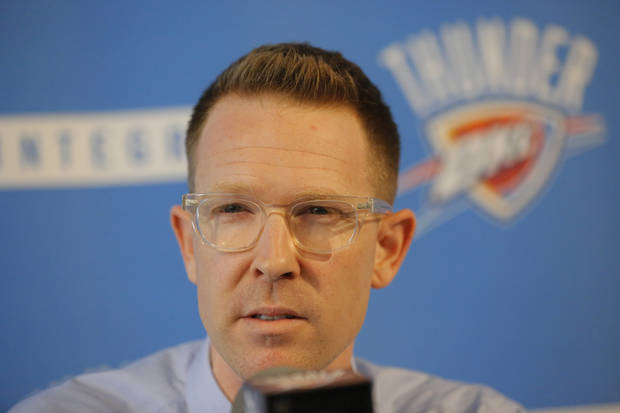 photo - Nick Collison is getting older. Hasheem Thabeet isn't a long-term option. Sam Presti (pictured) should draft a big man, says Jenni Carlson. Photo by Jim Beckel, The Oklahoman