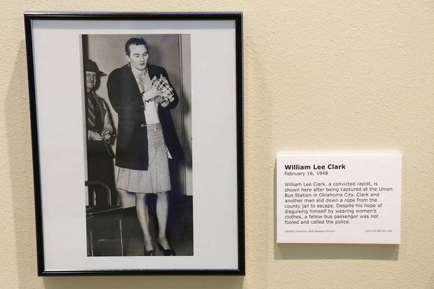 "A photo of escaped prisoner William Lee Clark, who tried to flee town dressed as a woman but was caught at Union Bus Station, is featured in the Oklahoma History Center's exhibit ""Wanted: Dead or Alive."" This photography exhibit is comprised of images of some of Oklahoma's most infamous outlaws and lesser-known criminals and will be on display until Feb. 29. [Photo by Doug Hoke/The Oklahoman]"