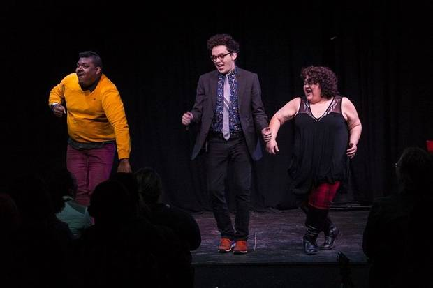 From left, Kendon Lacy, Kyle Gossett and Cristela Carrizales perform with OKC Improv. [Photo provided]