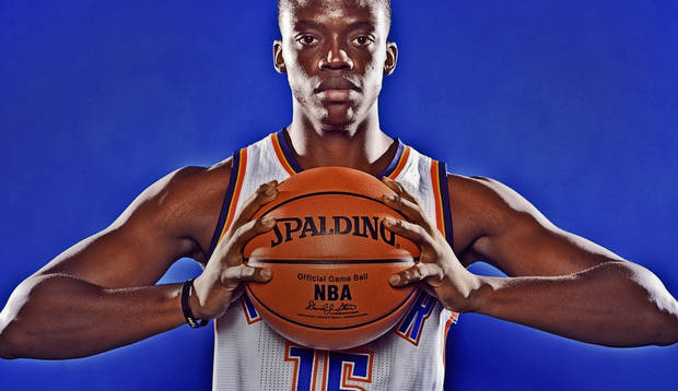 photo - OKLAHOMA CITY THUNDER NBA BASKETBALL TEAM: Reggie Jackson during Thunder Media Day photos on Monday, Oct. 1, 2012, in Oklahoma City, Oklahoma.  Photo by Chris Landsberger, The Oklahoman
