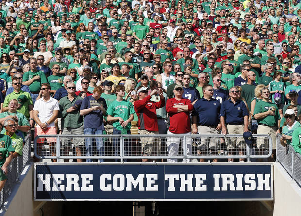 photo - Fans wait for the teams to take the field before a college football game between the University of Oklahoma Sooners (OU) and the Notre Dame Fighting Irish at Notre Dame Stadium in South Bend, Ind., Saturday, Sept. 28, 2013. Photo by Nate Billings, The Oklahoman