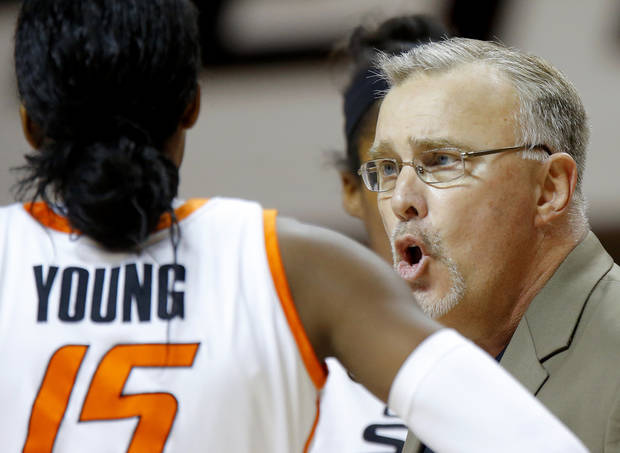 photo - OSU: Oklahoma State coach Jim Littell shouts at Oklahoma State's Toni Young (15) during a women's college basketball game between Oklahoma State University and TCU at Gallagher-Iba Arena in Stillwater, Okla., Tuesday, Feb. 5, 2013. Oklahoma State won 76-59.  Photo by Bryan Terry, The Oklahoman