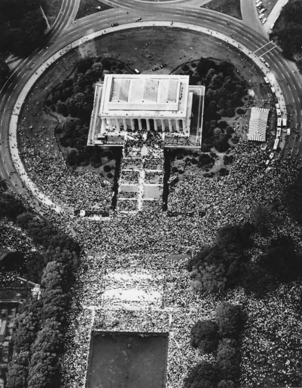 "This aerial view shows crowds at the Lincoln Memorial in Washington during Martin Luther King Jr.'s ""I Have a Dream"" speech on Aug. 28, 1963. AP Photo"