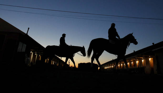 Horses make their way back to the barn after an early morning workout at Churchill Downs on Monday. (AP Photo)