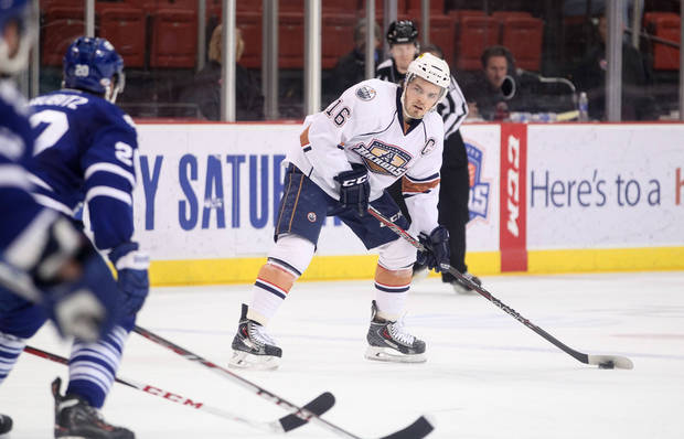 photo - Barons captain Anton Lander prepares to shoot against Toronto on Thursday night at the Cox Center. Photo by Steven Christy, Oklahoma City Barons