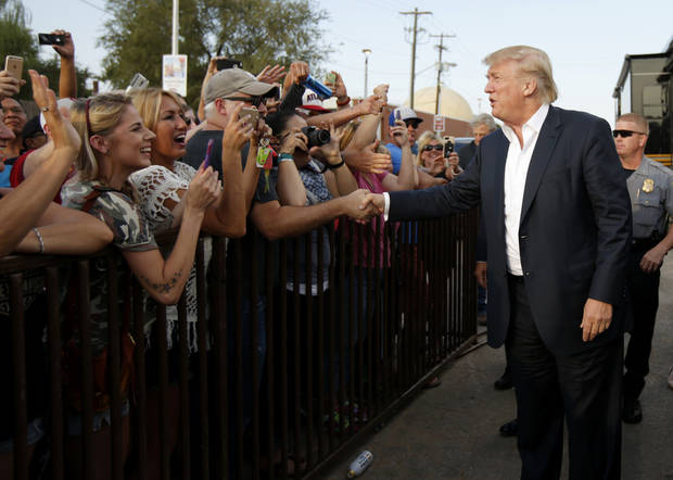 Donald Trump greets a crowd September 25, 2015 during a rally at the Oklahoma State Fair in Oklahoma City. [Photo by Bryan Terry, The Oklahoman]