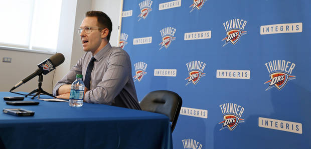 photo - Thunder general manager Sam Presti speaks to the media during his preseason availability at the Integris Health Thunder Development Center, 9600 N. Oklahoma Ave., in Oklahoma City, Wednesday, Sept. 25, 2013. Photo by Nate Billings, The Oklahoman