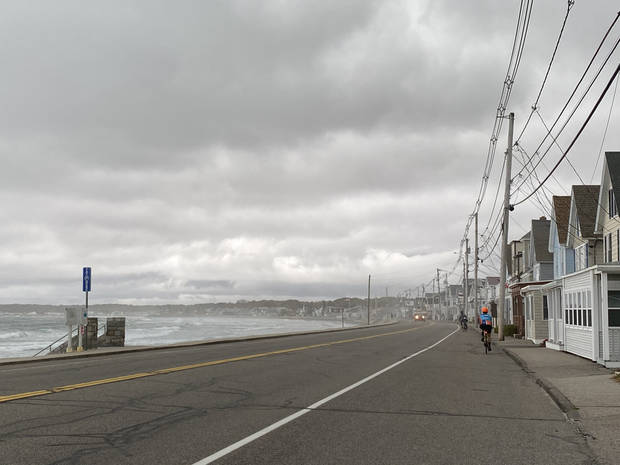 The main drag of York, Maine, on Friday was gray and wet. (Photo by Tricia Tramel)