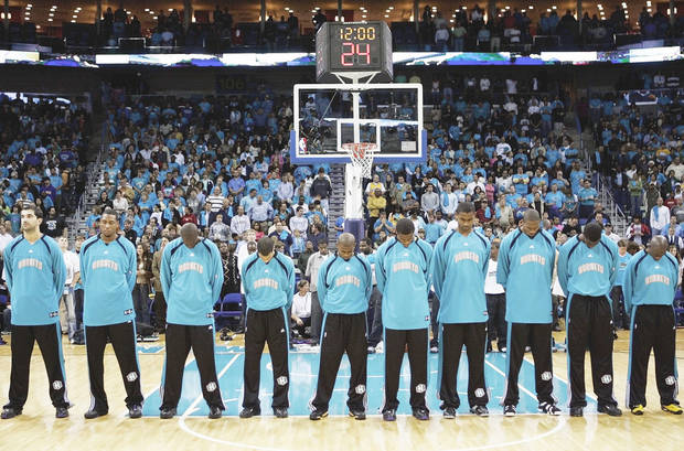 photo - The Thunder got the idea for a pre-game prayer from the Hornets, who brought it from New Orleans when they moved temporarily to Oklahoma City.  Photo By Nate Billings, The Oklahoman