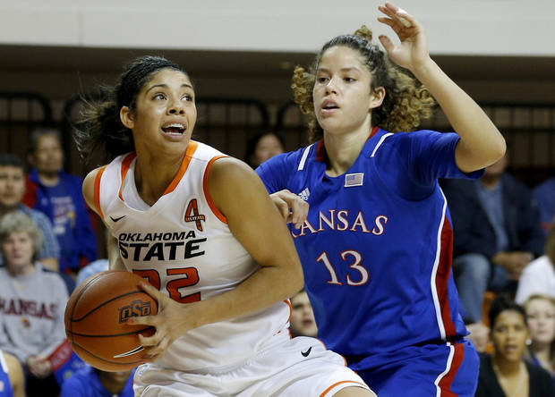photo - Oklahoma State's Brittney Martin (22) tries to get past Kansas' Monica Engelman (13) during a women's college basketball game between Oklahoma State University (OSU) and Kansas at Gallagher-Iba Arena in Stillwater, Okla., Tuesday, Jan. 8, 2013. Photo by Bryan Terry, The Oklahoman