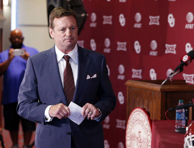 University of Oklahoma head football coach Bob Stoops speaks about his announced retirement at a press at Gaylord Family-Oklahoma Memorial Stadium in Norman, Okla. on Wednesday, June 7, 2017. Photo by Steve Sisney, The Oklahoman